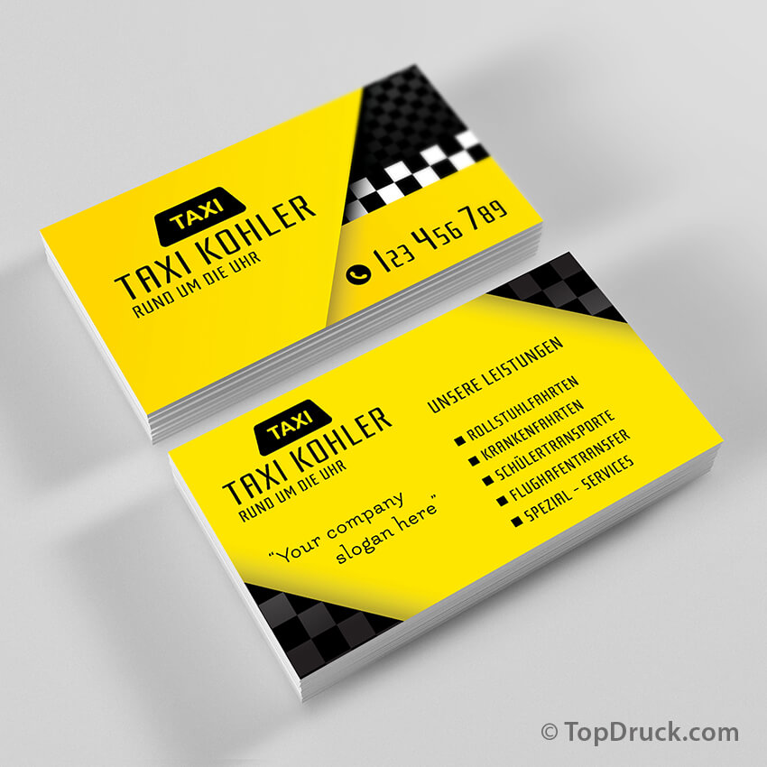 Taxi Visitenkarten Design Topdruck