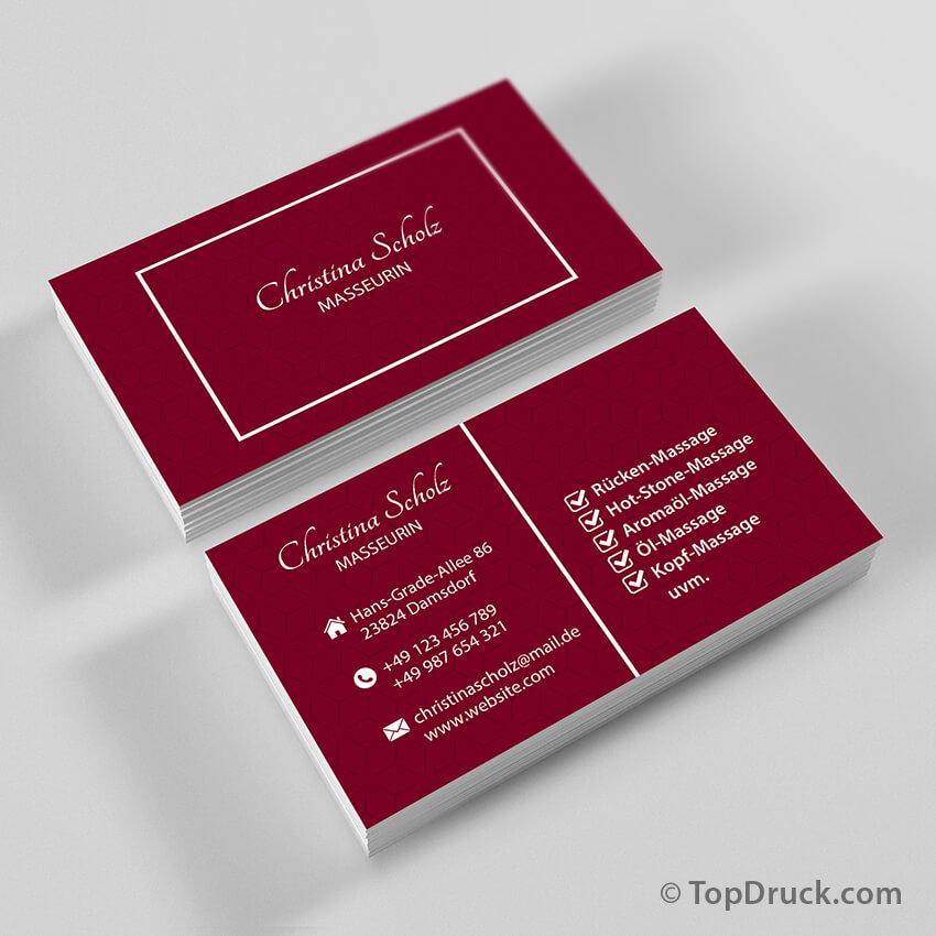 Masseurin Visitenkarten Design Topdruck