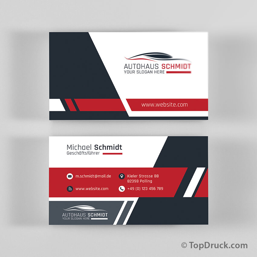 Autohaus Visitenkarten Design Topdruck