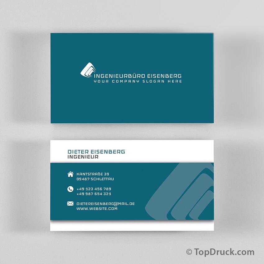 Ingenieurbüro Visitenkarten Design Topdruck