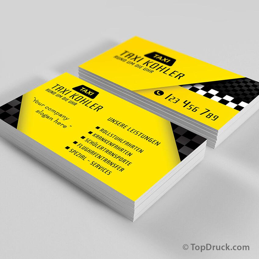 Taxi visitenkarten design topdruck for Visitenkarten gratis vorlagen