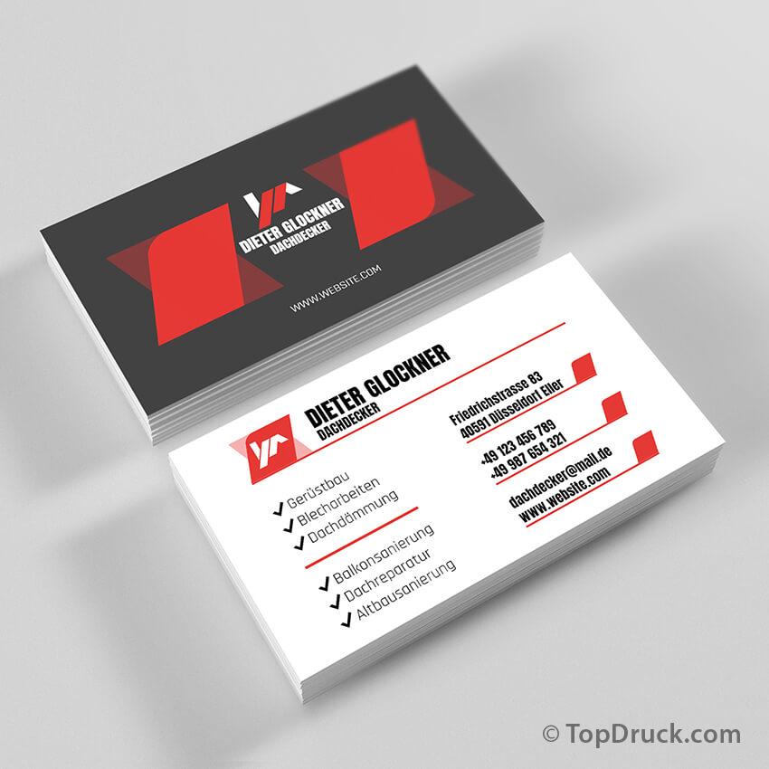 Dachdecker Visitenkarten Design Topdruck