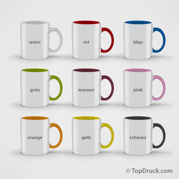 Tassen bedrucken alle Farben