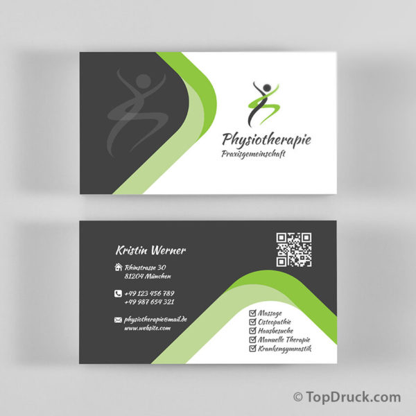 Physiotherapie Visitenkarten Design