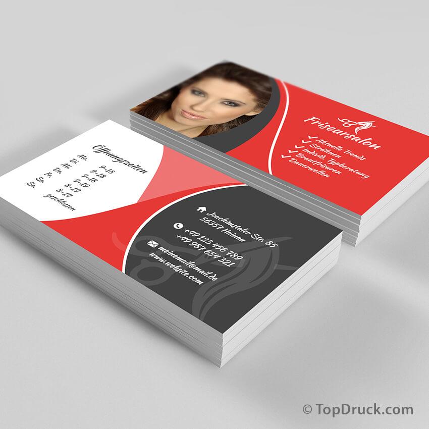 Friseursalon Visitenkarten Design Topdruck