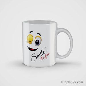 Tasse weiss Smile bedrucken