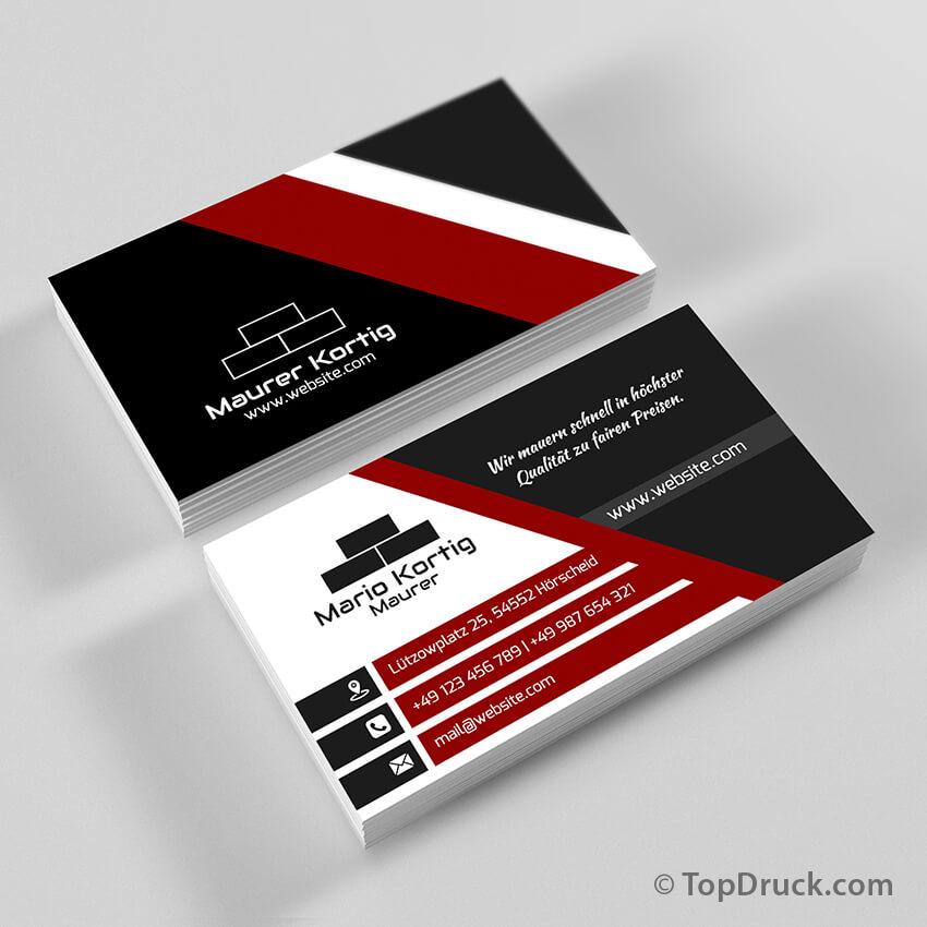Maurer Visitenkarten Design Topdruck