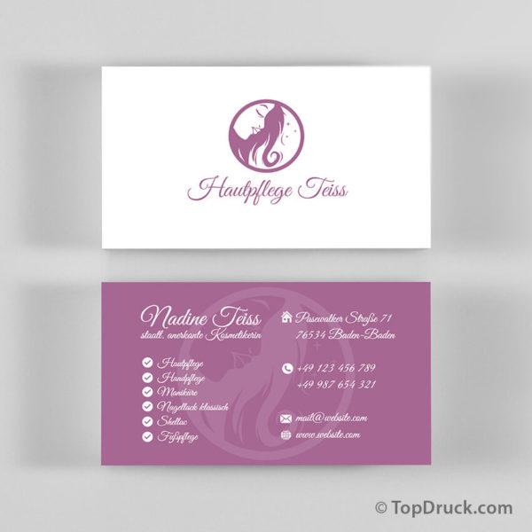 Hautpflege Visitenkarten Design
