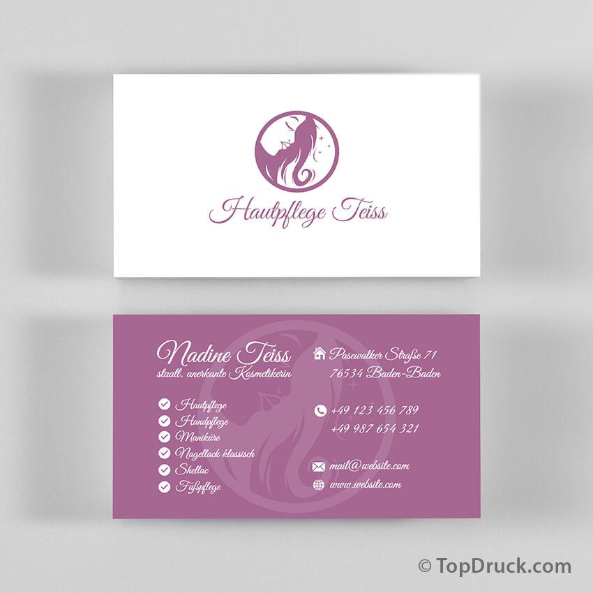 Hautpflege Visitenkarten Design Topdruck