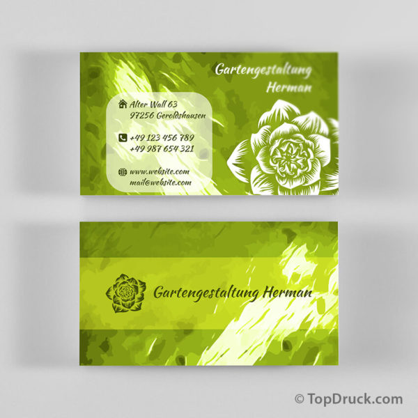 Gartengestaltung Visitenkarten Design