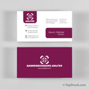 Badrenovierung Visitenkarten Design