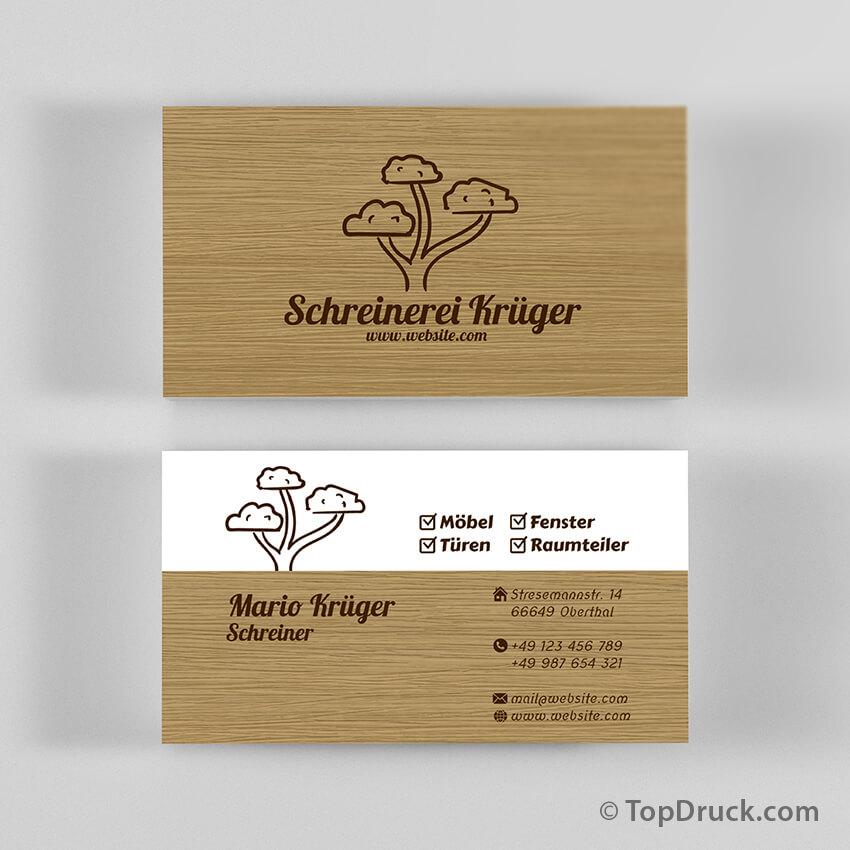Schreiner Visitenkarten Design Topdruck