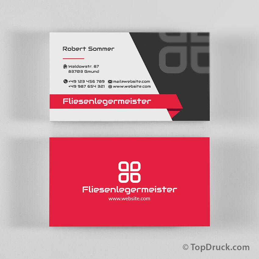 Fliesenlegermeister Visitenkarten Design Topdruck
