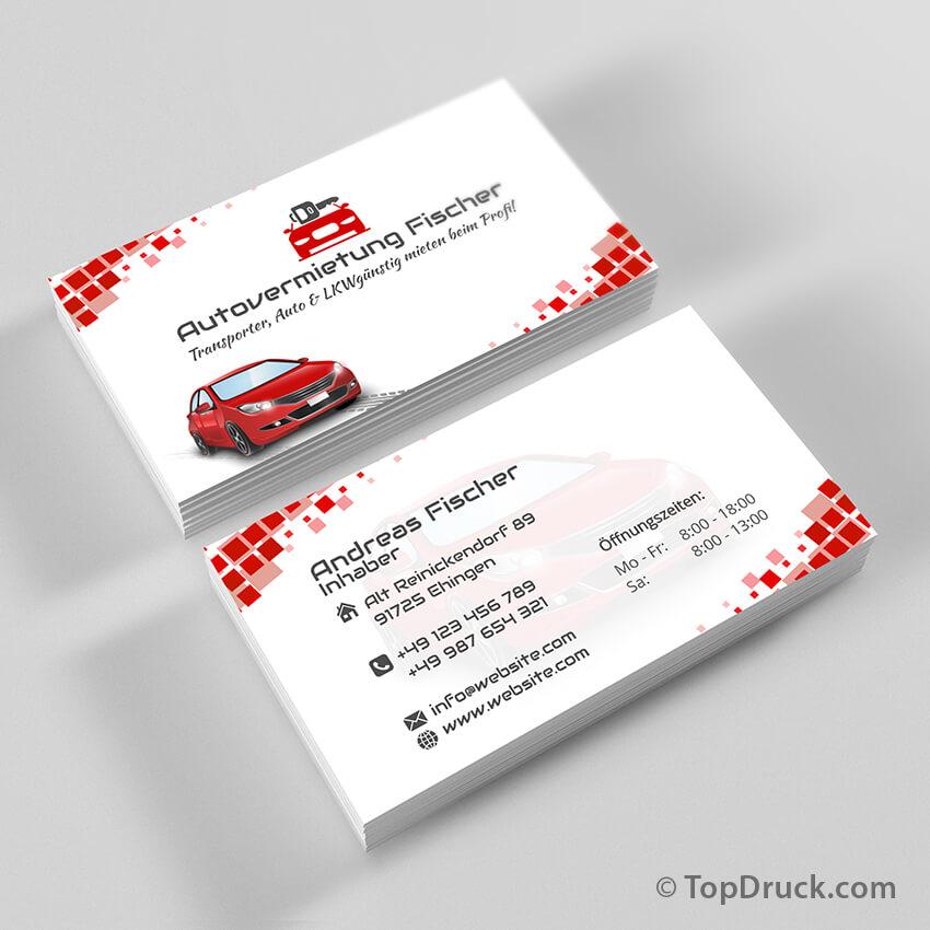Autovermietung Visitenkarten Design Topdruck